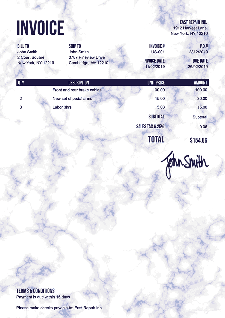 Invoice Template Us Marble Blue