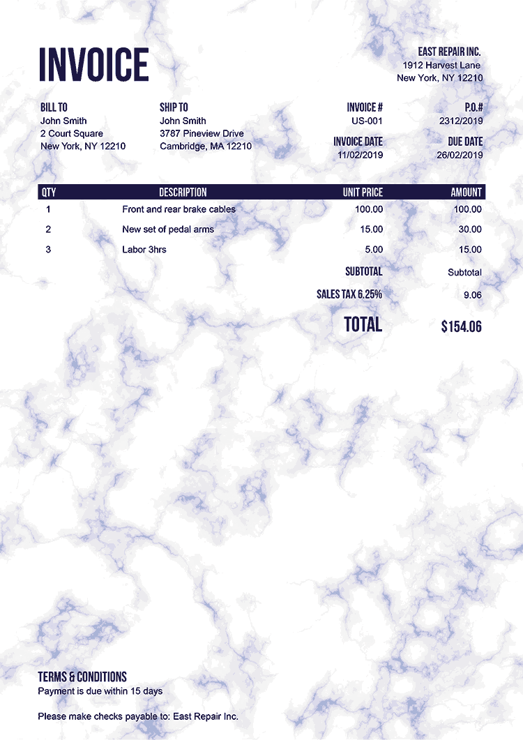 Invoice Template Us Marble Blue No Logo