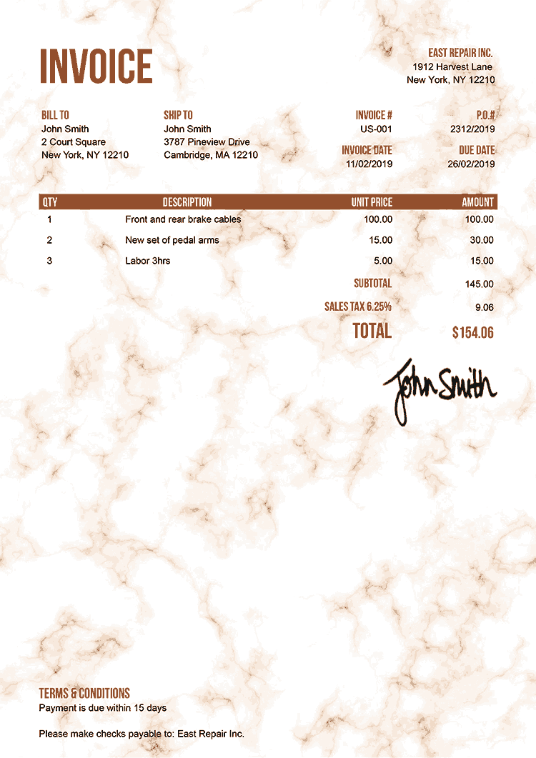 Invoice Template Us Marble Orange