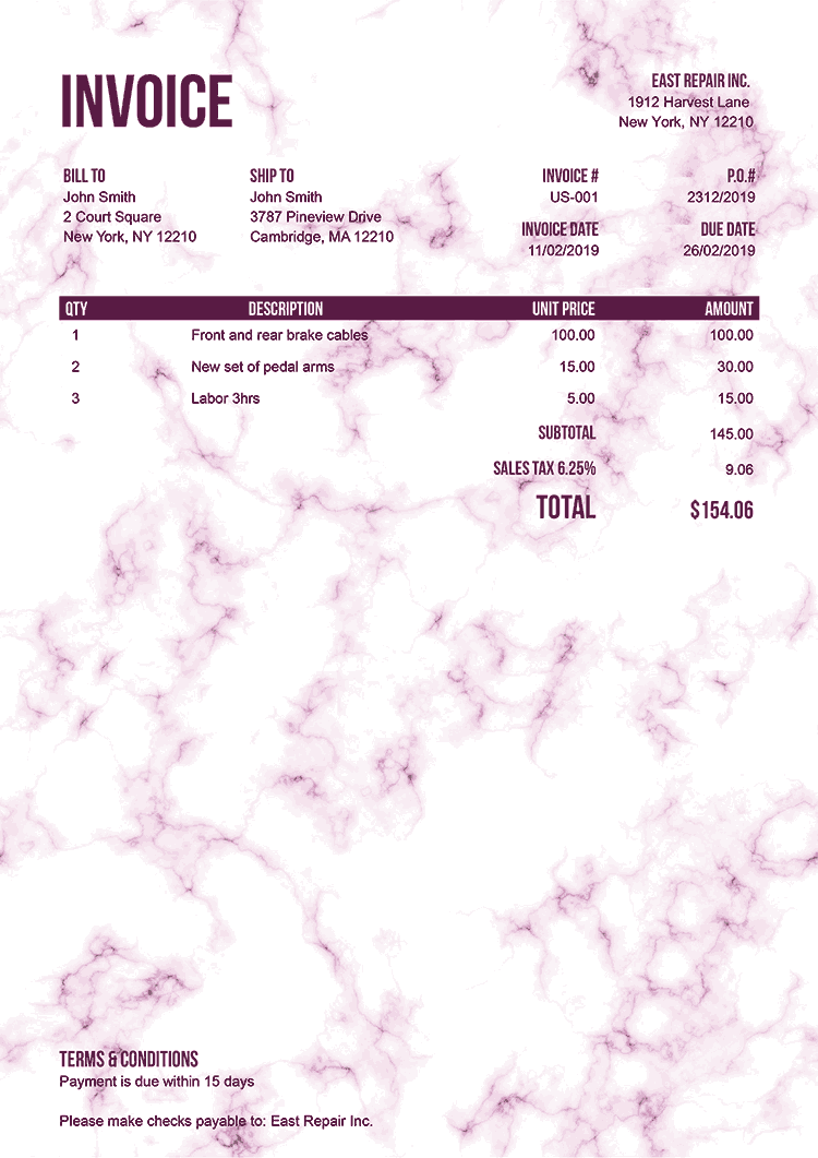 Invoice Template Us Marble Pink No Logo