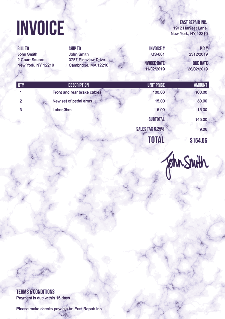 Invoice Template Us Marble Purple