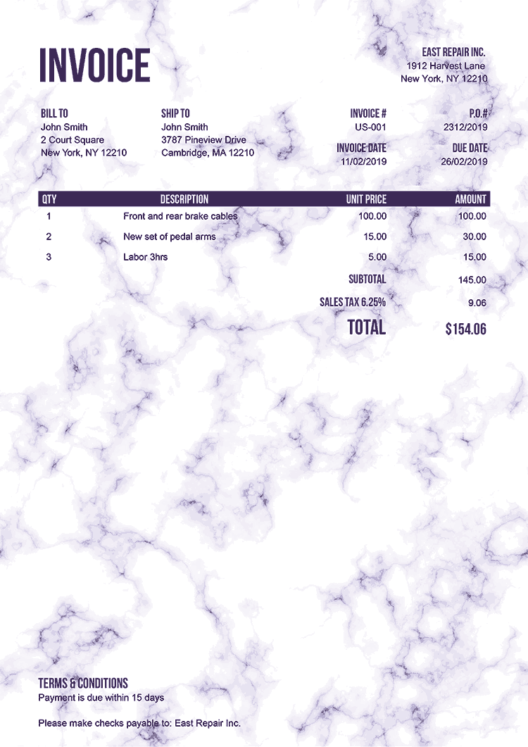 Invoice Template Us Marble Purple No Logo