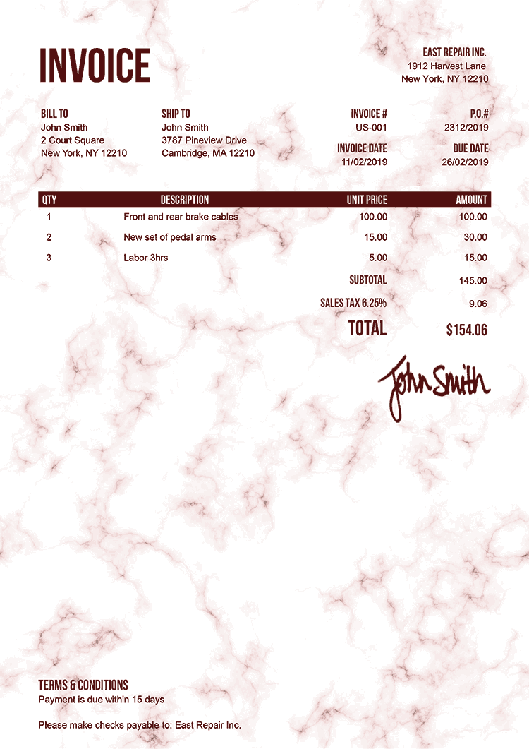 Invoice Template Us Marble Red