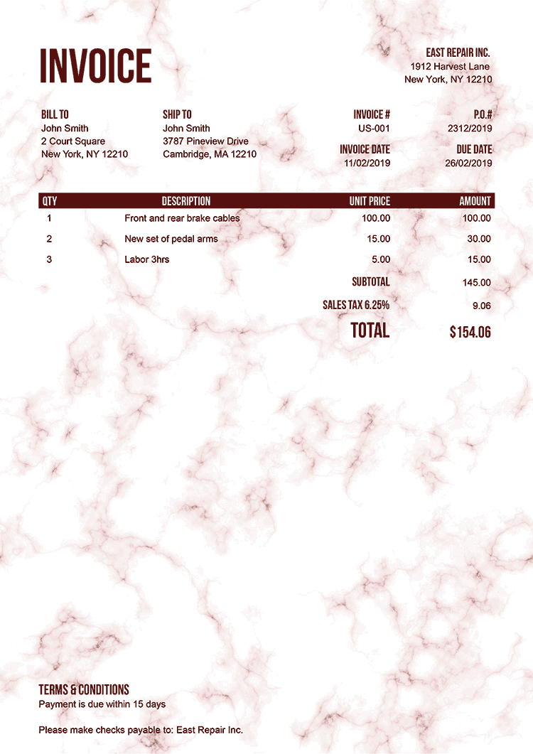 Invoice Template Us Marble Red No Logo