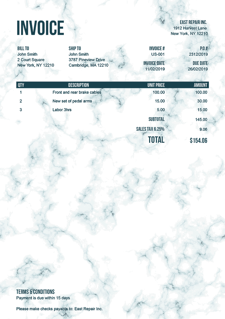 Invoice Template Us Marble Teal No Logo