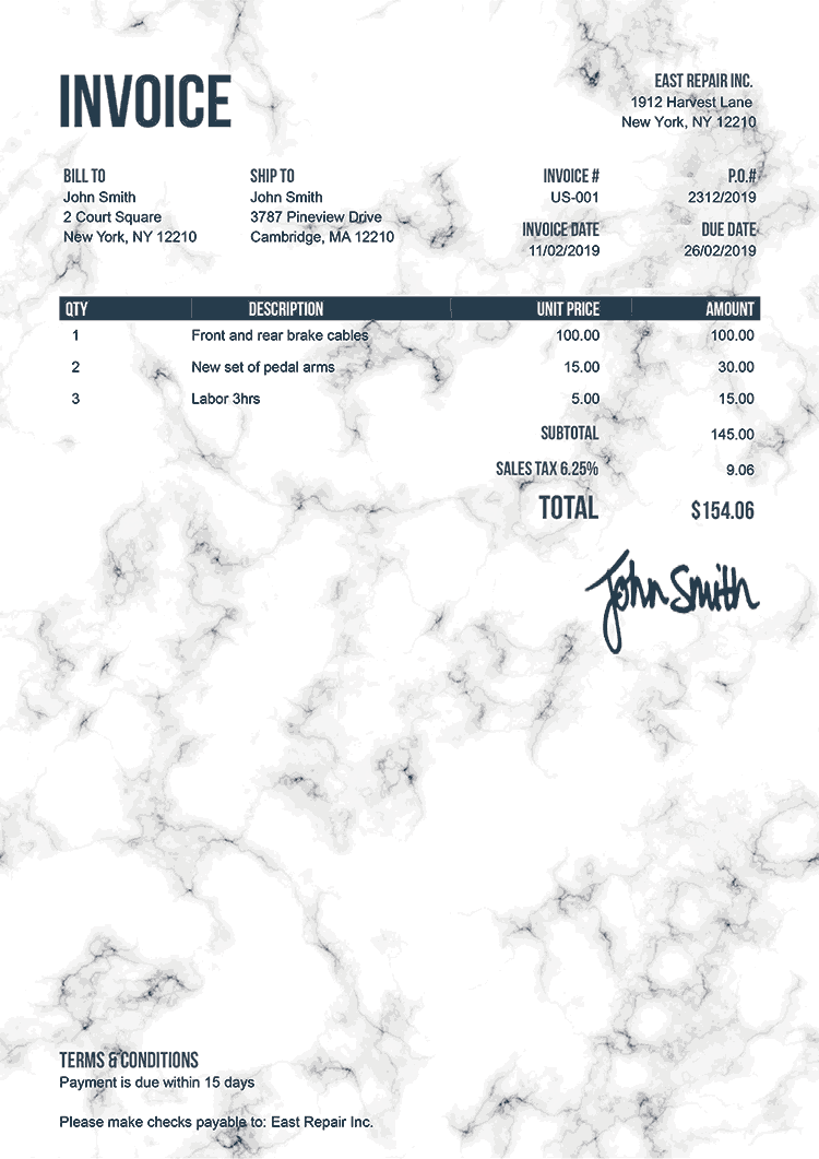 Invoice Template Us Marble White