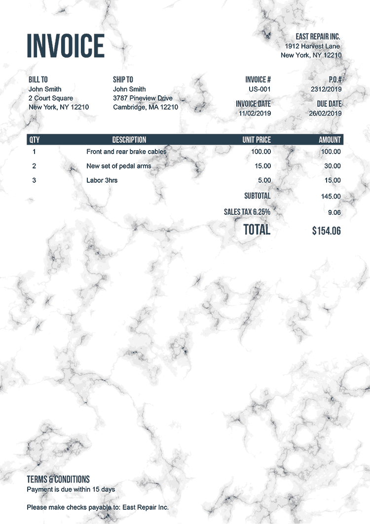 Invoice Template Us Marble White No Logo