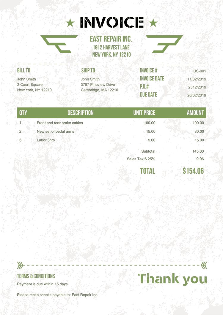 Invoice Template Us Military Green No Logo