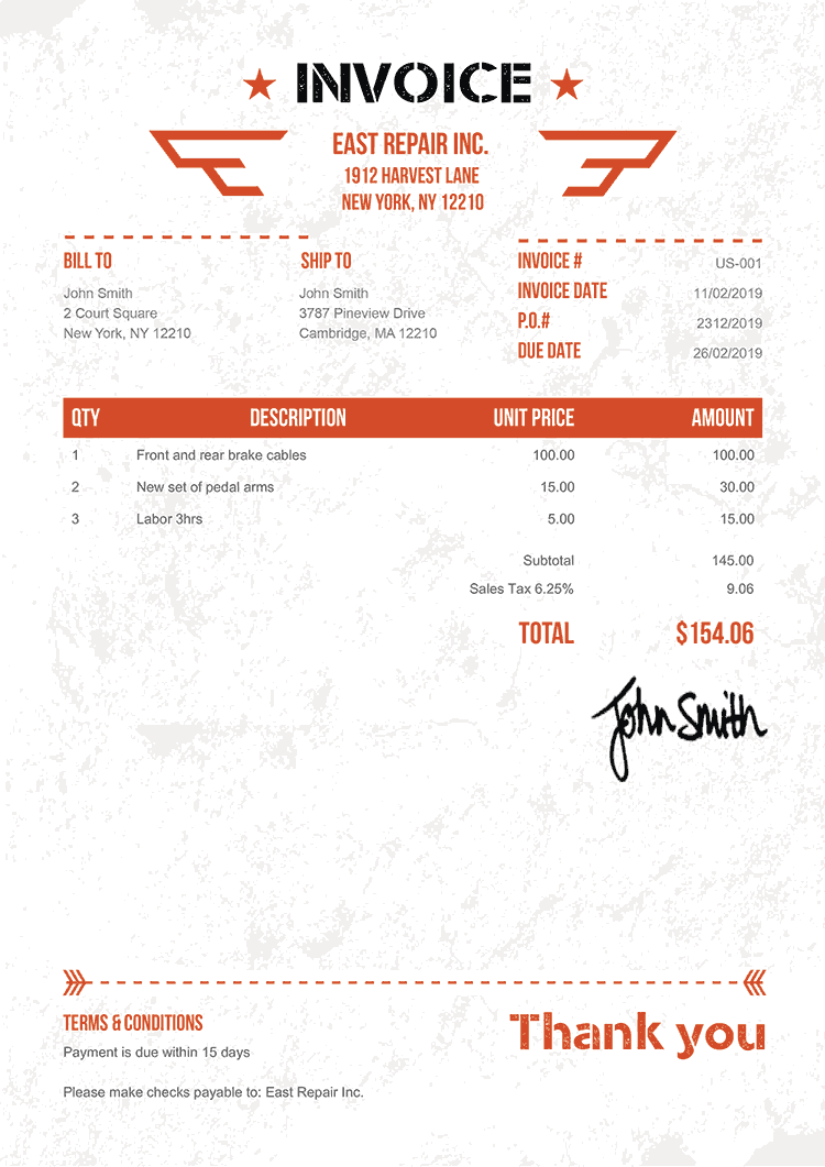 Invoice Template Us Military Orange