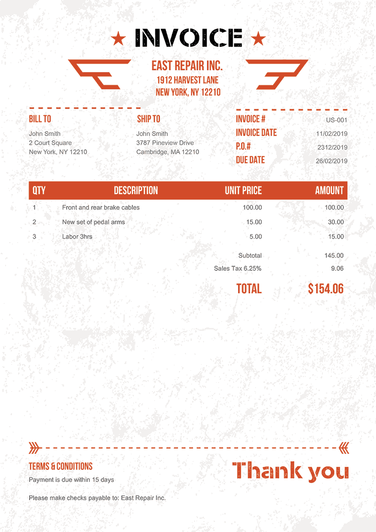Invoice Template Us Military Orange No Logo