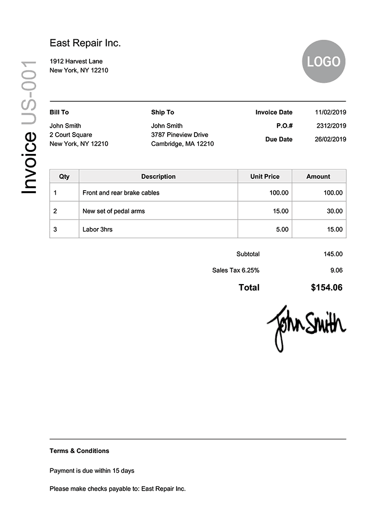 Invoice Template Us Modern Black