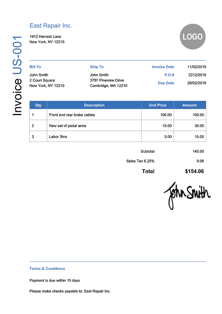Invoice Template Us Modern Blue
