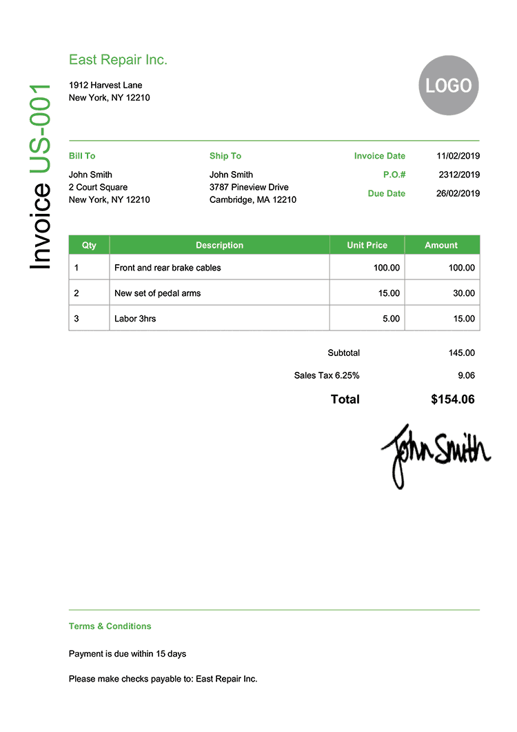Invoice Template Us Modern Green