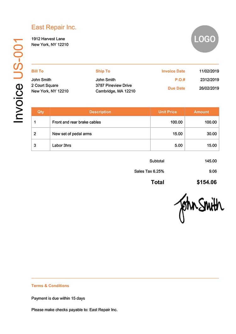 Invoice Template Us Modern Orange