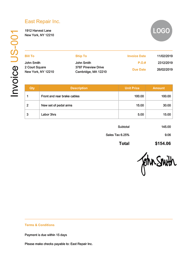 Invoice Template Us Modern Yellow
