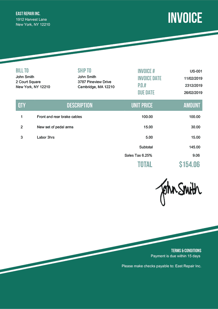Invoice Template Us Modest Green