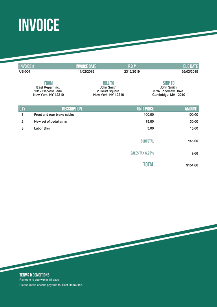Invoice Template Us Modest Green No Logo