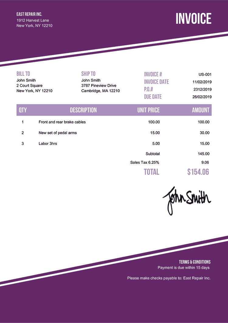 Invoice Template Us Modest Purple