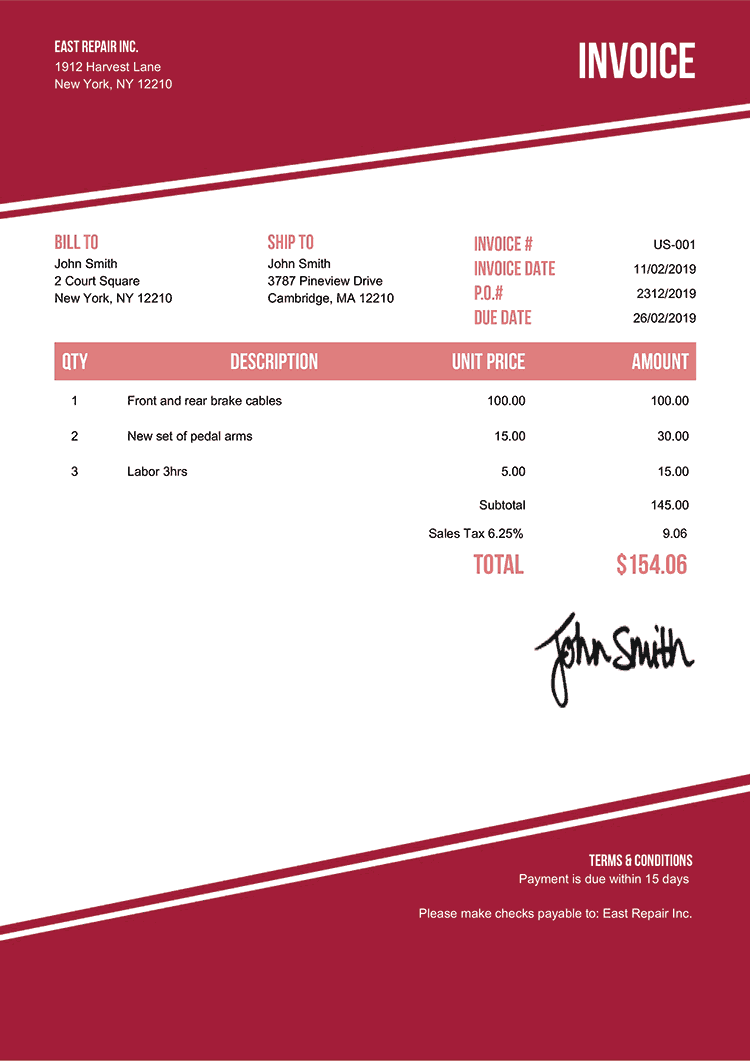 Invoice Template Us Modest Red