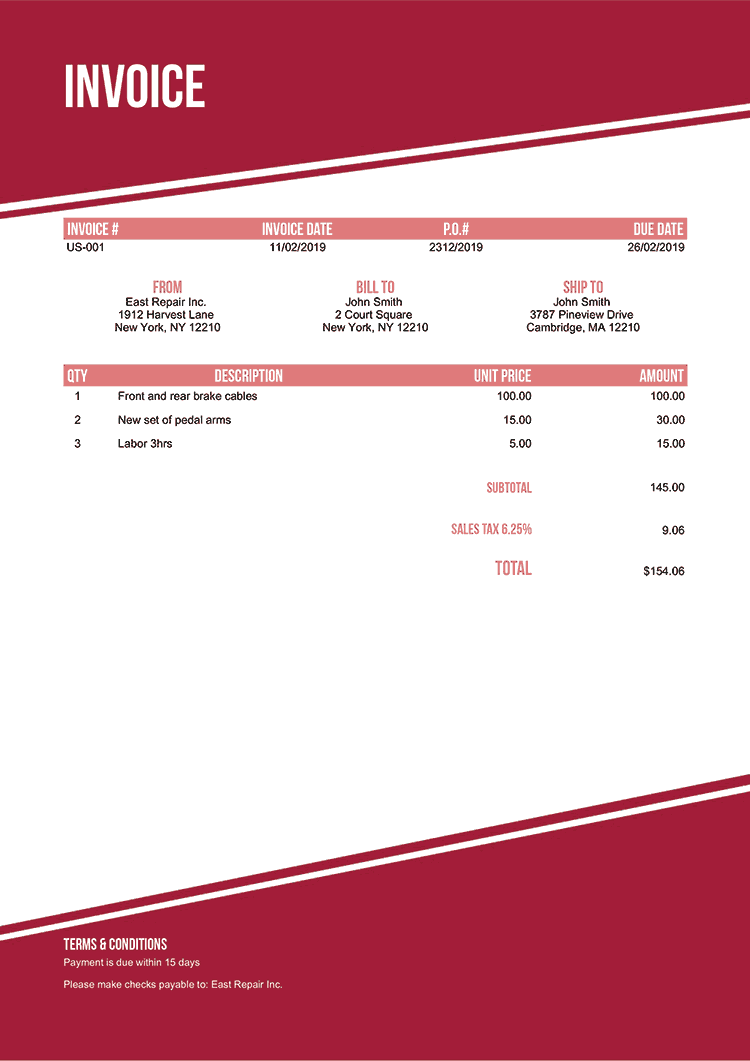 Invoice Template Us Modest Red No Logo