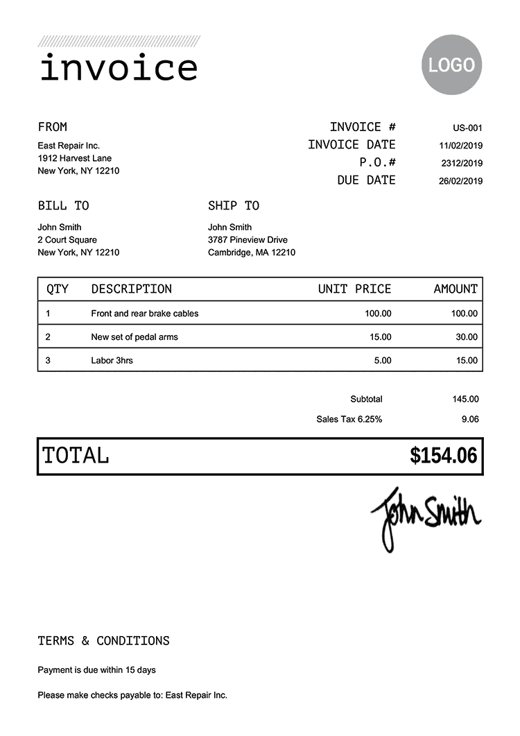 Free Work Invoice Template from templates.invoicehome.com