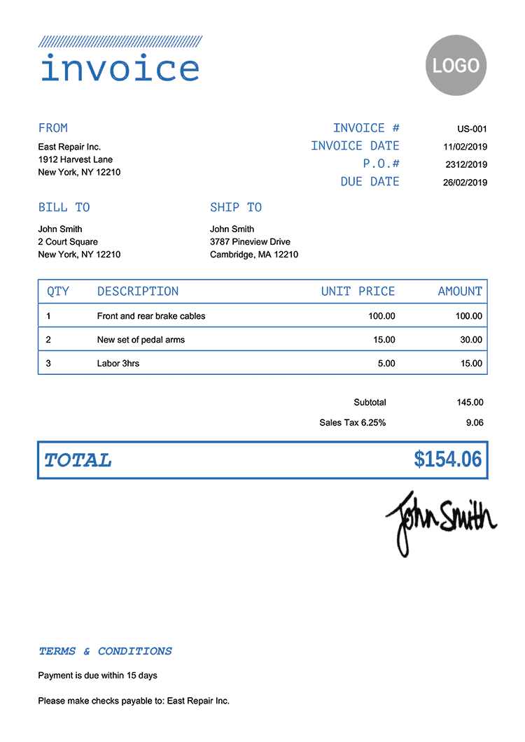 Invoice Template Us Mono Blue