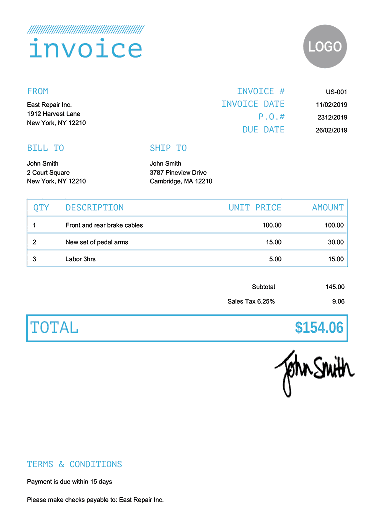 Invoice Template Us Mono Light Blue
