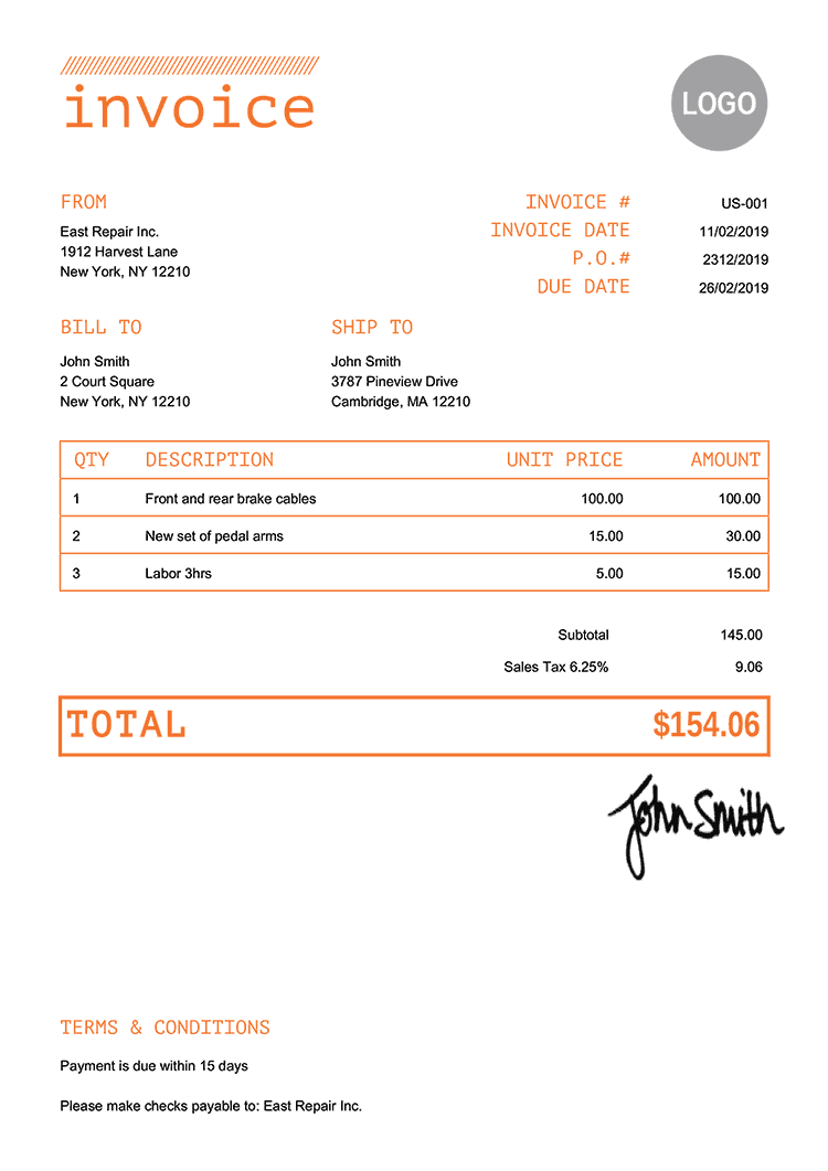 Invoice Template Us Mono Orange