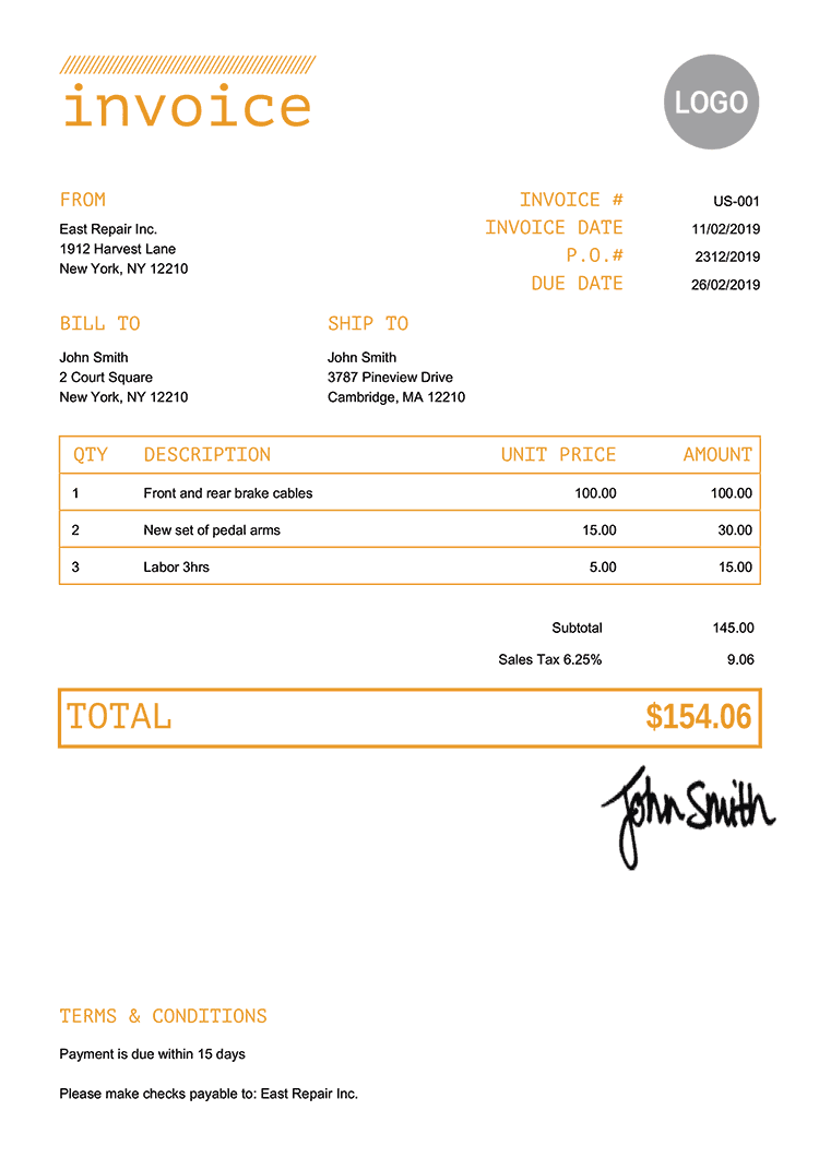 Invoice Template Us Mono Yellow