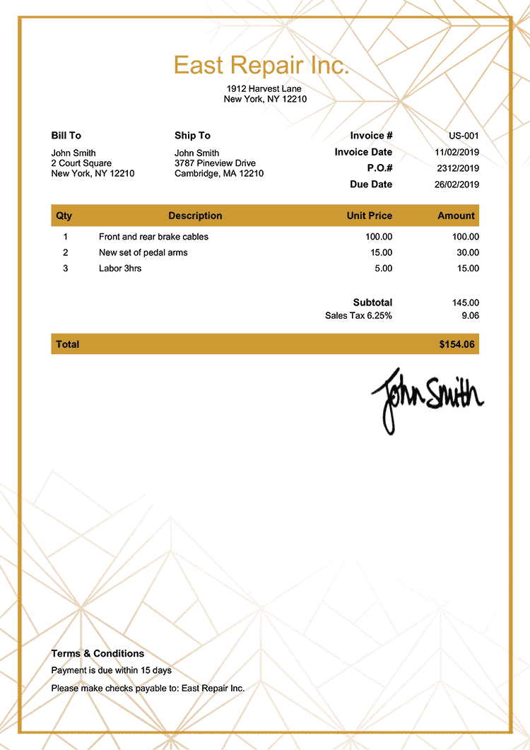 Invoice Template Us Mosaic