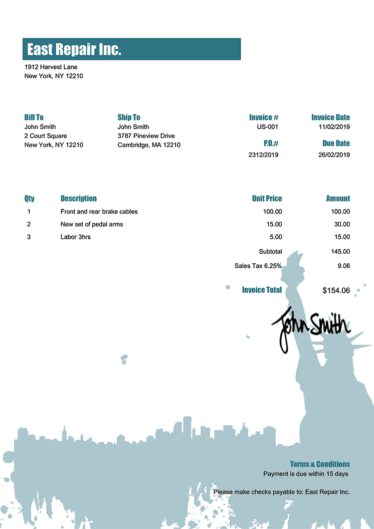 Invoice Template Us New York