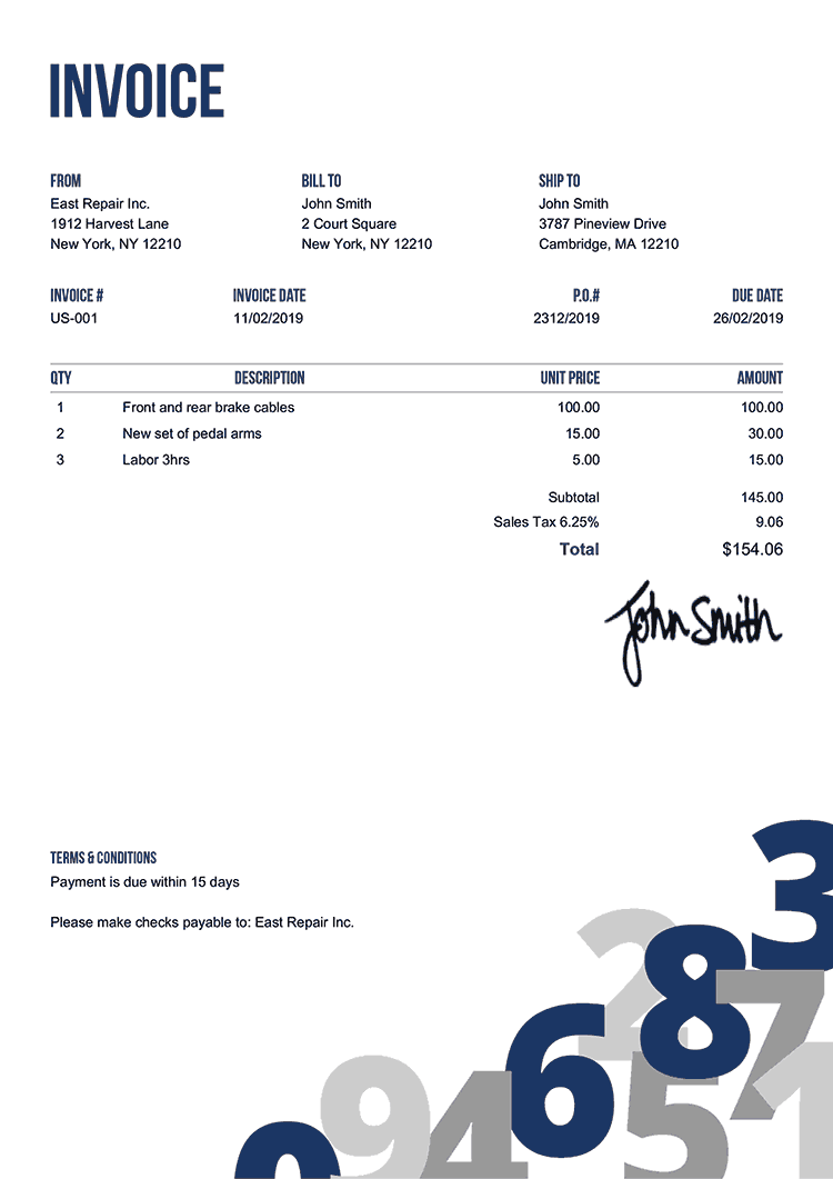 Invoice Template Us Numbers Blue