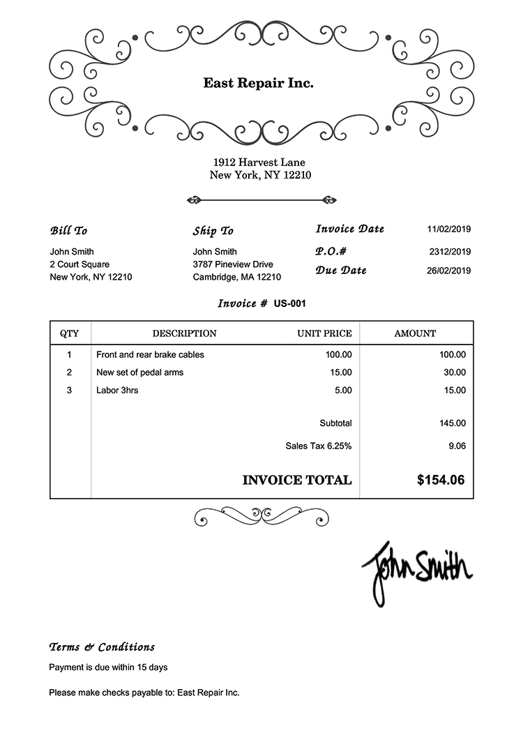 Invoice Template Us Oldie White