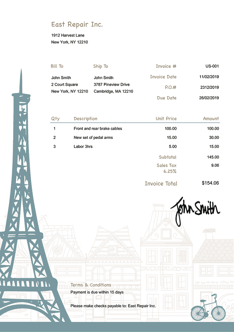 Invoice Template Us Paris