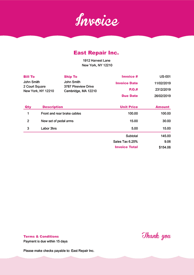 Invoice Template Us Pink Frosting No Logo