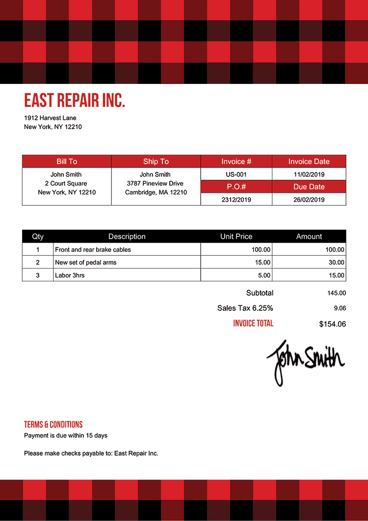 Invoice Template Us Plaid Red
