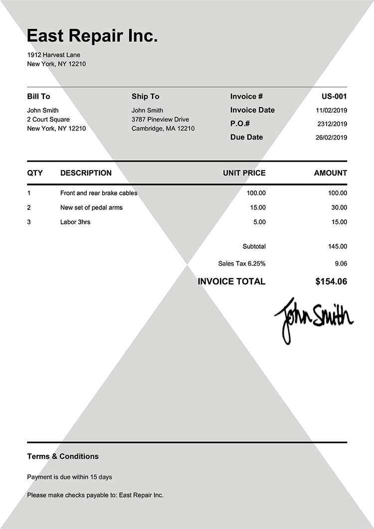 Invoice Template Us Pure Black