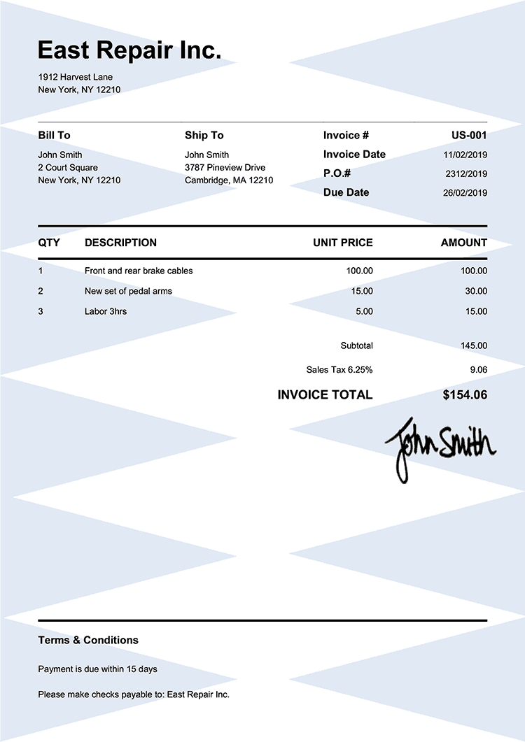 Invoice Template Us Pure Blue