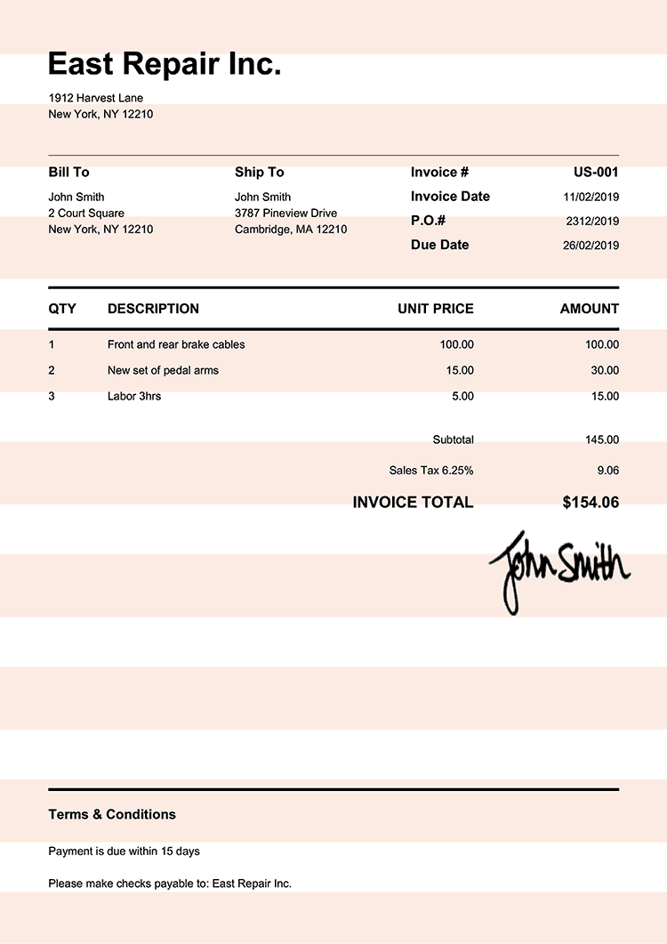 Invoice Template Us Pure Orange