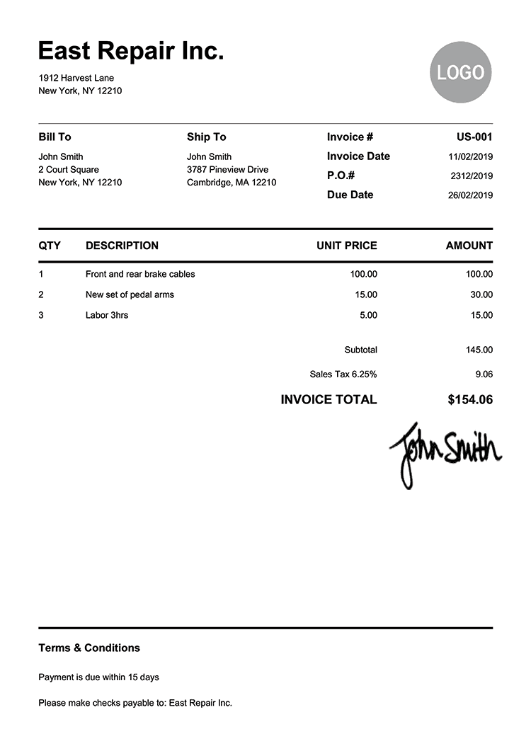 Invoice Template Us Pure White