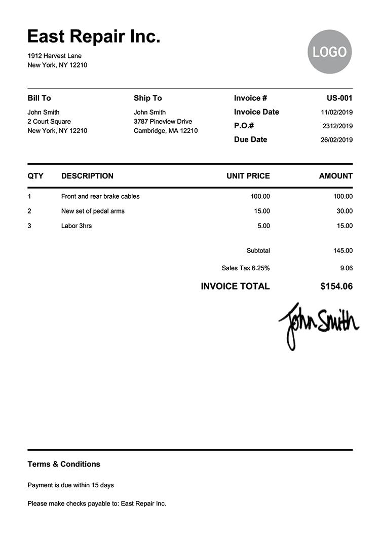 free blank invoice pdf