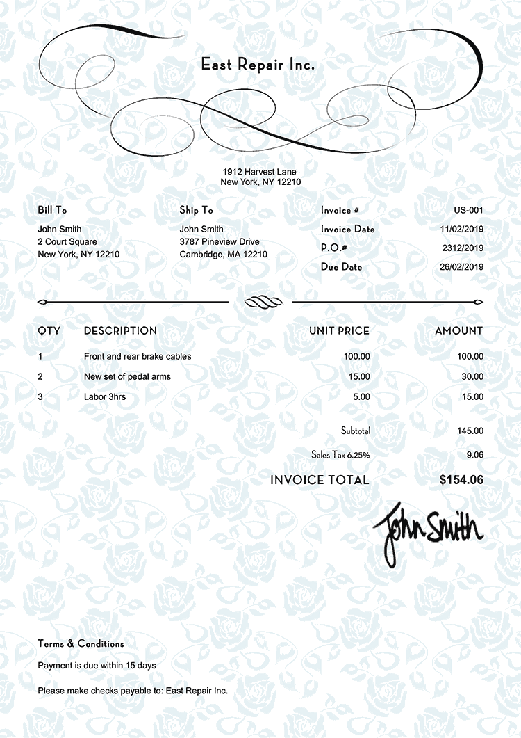 Invoice Template Us Rose Blue