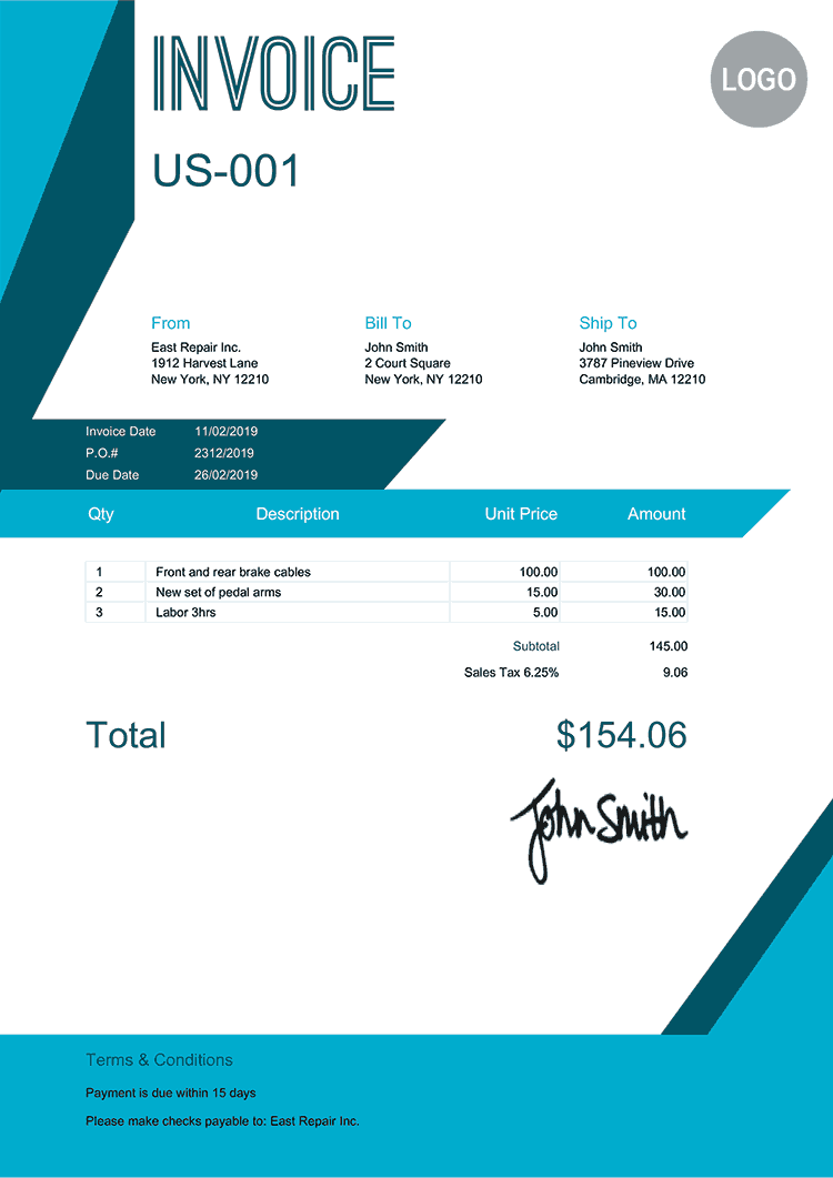 Invoice Template Us Sharp