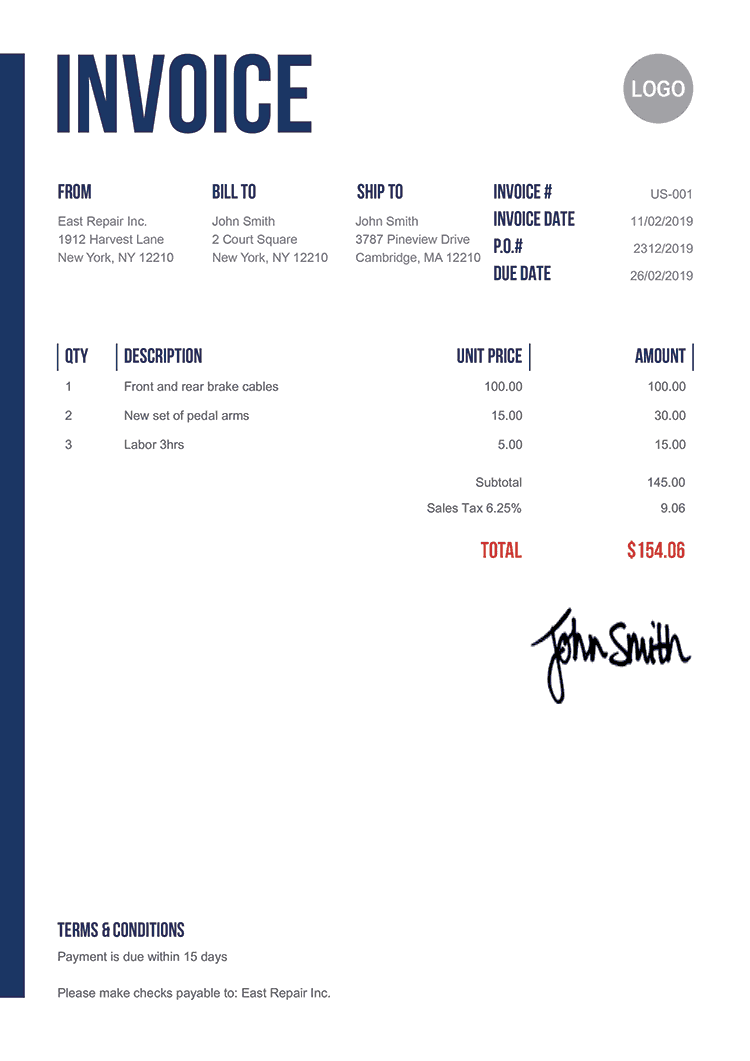 Invoice Template Us Slim