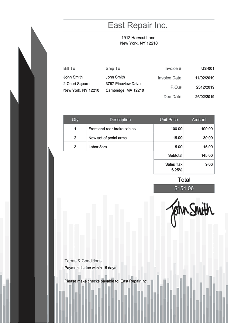 Invoice Template Us Success Gray