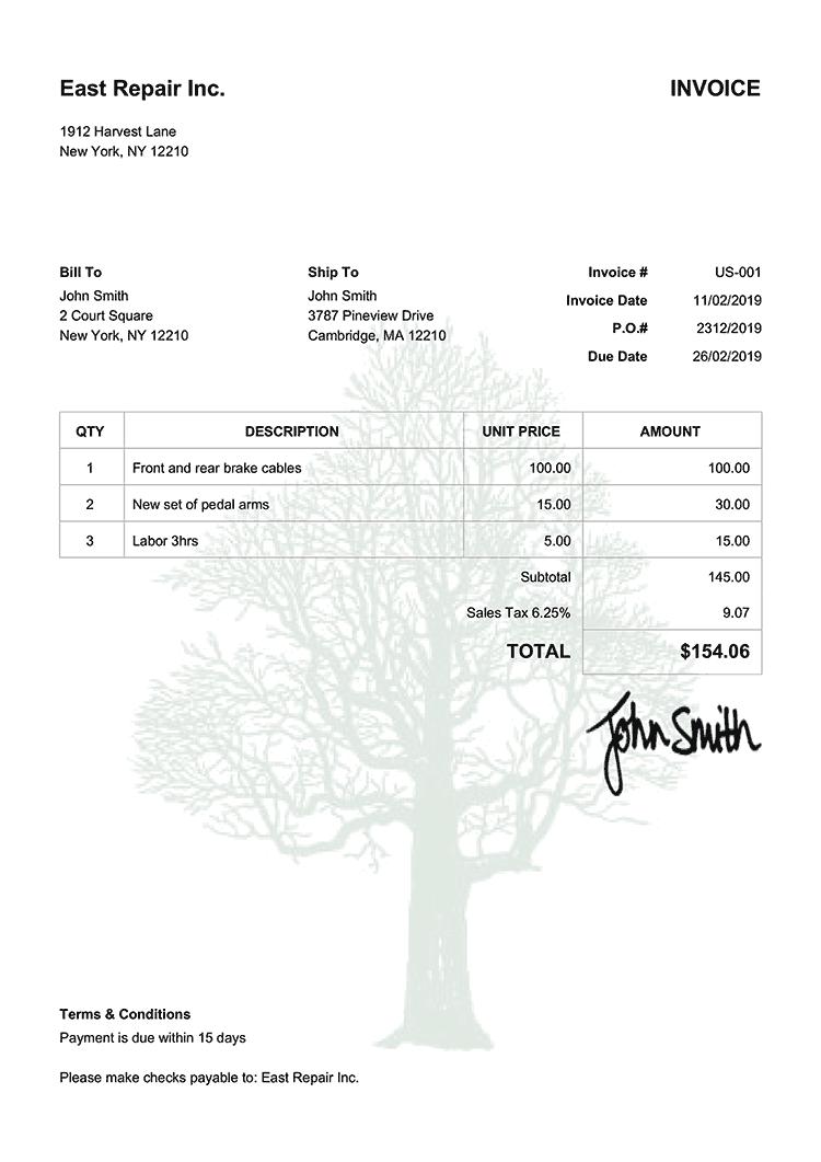 Invoice Template Us Tree