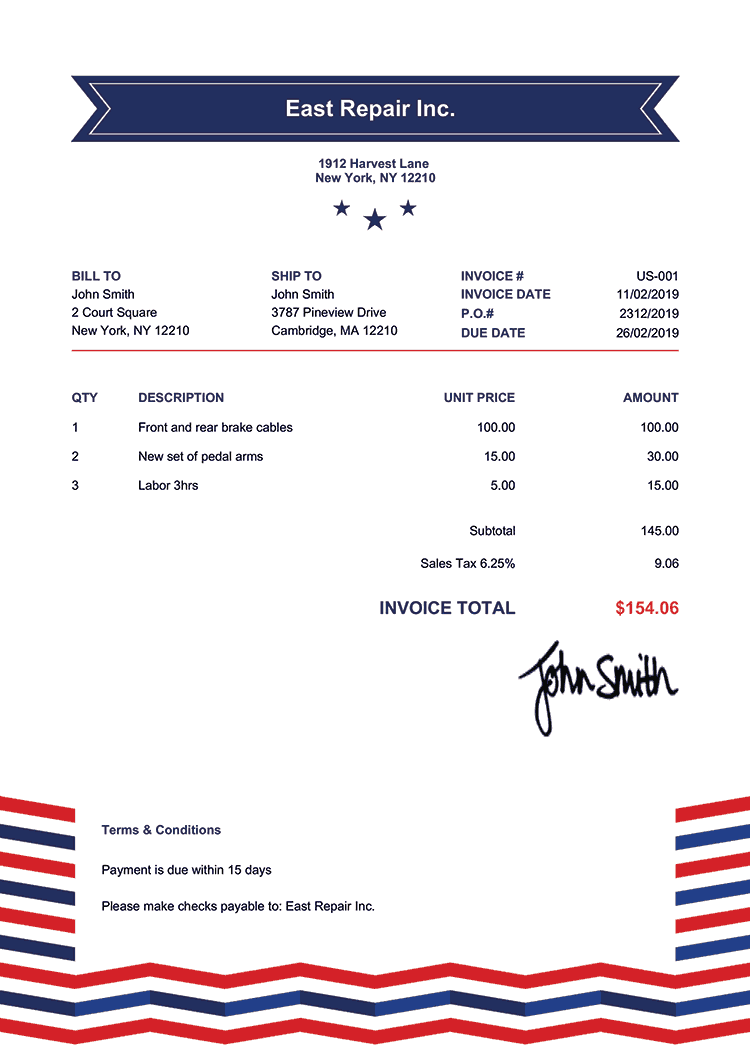 Invoice Template Us Us Rock