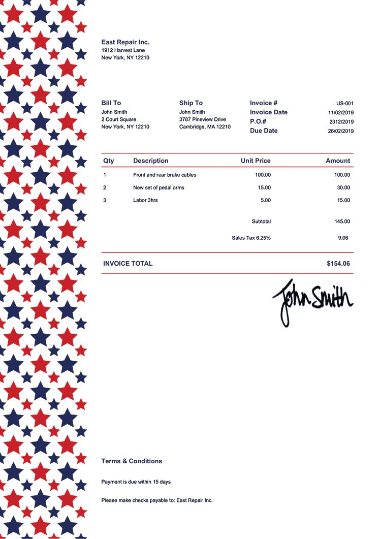 Invoice Template Us Us Sequoia