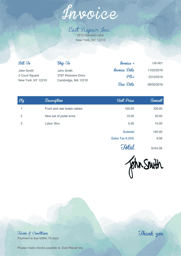 Invoice Template Us Watercolor Blue