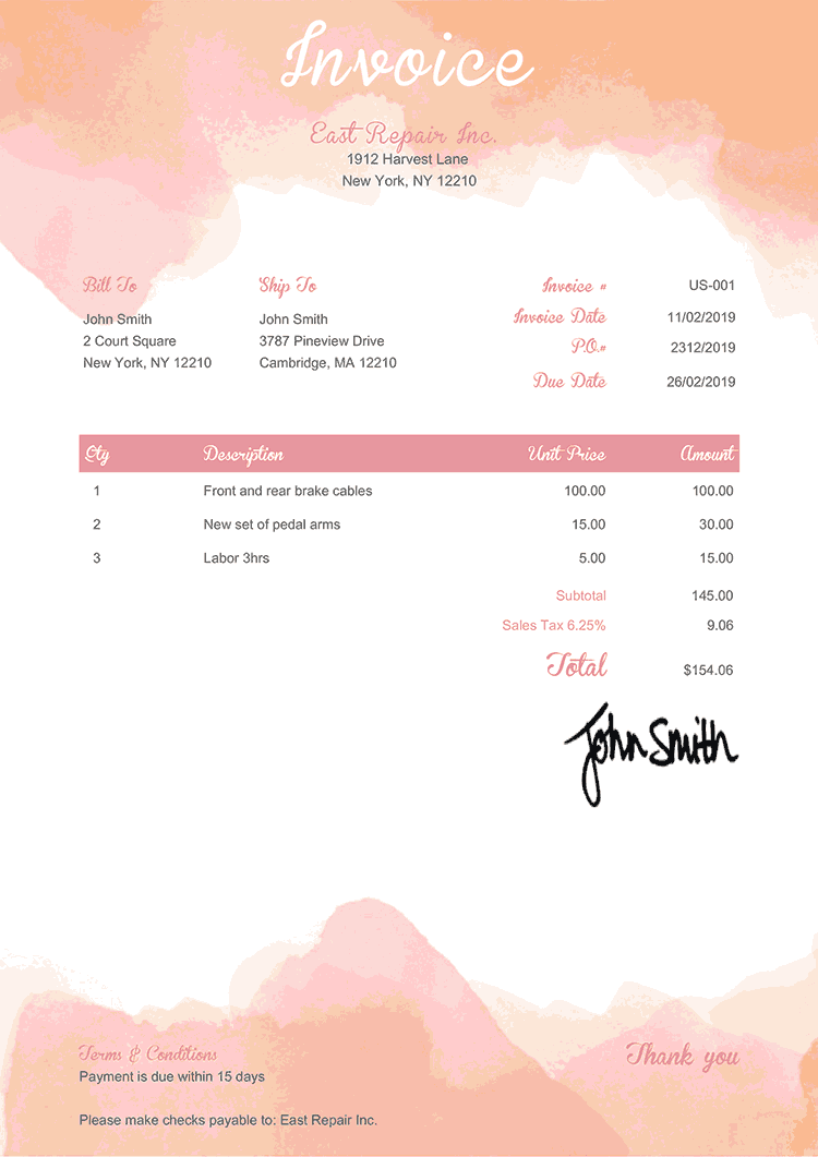 Invoice Template Us Watercolor Pink